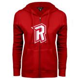 ENZA Ladies Red Fleece Full Zip Hoodie-R Mark