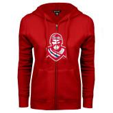 ENZA Ladies Red Fleece Full Zip Hoodie-Highlander
