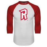 White/Red Raglan Baseball T Shirt-R Mark