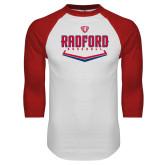 White/Red Raglan Baseball T Shirt-Baseball Design