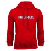 Red Fleece Hoodie-Highlander Wordmark