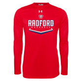 Under Armour Red Long Sleeve Tech Tee-Baseball Design