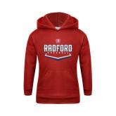 Youth Red Fleece Hoodie-Baseball Design