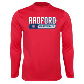 Performance Red Longsleeve Shirt-Basketball Design