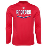 Performance Red Longsleeve Shirt-Baseball Design