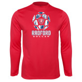 Performance Red Longsleeve Shirt-Soccer Design