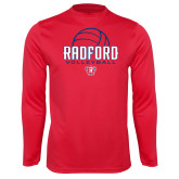 Performance Red Longsleeve Shirt-Volleyball Design
