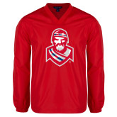 V Neck Red Raglan Windshirt-Highlander