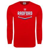 Red Long Sleeve T Shirt-Baseball Design