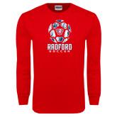 Red Long Sleeve T Shirt-Soccer Design