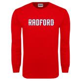 Red Long Sleeve T Shirt-Radford Wordmark