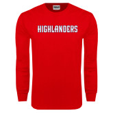 Red Long Sleeve T Shirt-Highlander Wordmark