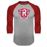 Grey/Red Raglan Baseball T Shirt-R in Shield