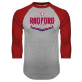 Grey/Red Raglan Baseball T Shirt-Baseball Design