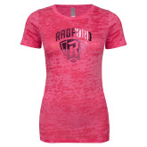 Next Level Ladies Junior Fit Fuchsia Burnout Tee-Primary Mark