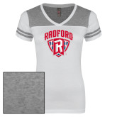Ladies White/Heathered Nickel Juniors Varsity V Neck Tee-Primary Mark