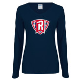Ladies Navy Long Sleeve V Neck Tee-R in Shield