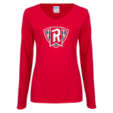 Ladies Red Long Sleeve V Neck Tee-R in Shield