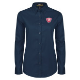 Ladies Navy Twill Button Down Long Sleeve-R in Shield