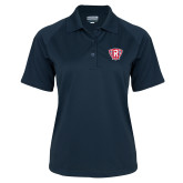 Ladies Navy Textured Saddle Shoulder Polo-R in Shield