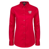 Ladies Red Twill Button Down Long Sleeve-R in Shield