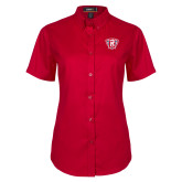 Ladies Red Twill Button Up Short Sleeve-R in Shield