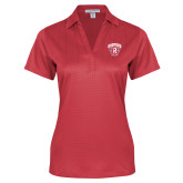 Ladies Red Performance Fine Jacquard Polo-Primary Mark