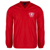 V Neck Red Raglan Windshirt-R in Shield