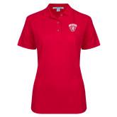 Ladies Easycare Red Pique Polo-Primary Mark