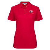 Ladies Easycare Red Pique Polo-R in Shield