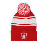 Red/White Two Tone Knit Pom Beanie w/Cuff-Primary Mark
