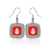 Crystal Studded Square Pendant Silver Dangle Earrings-Icon