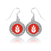 Crystal Studded Round Pendant Silver Dangle Earrings-Icon
