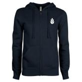ENZA Ladies Navy Fleece Full Zip Hoodie-Icon