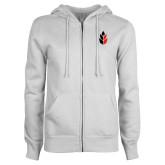 ENZA Ladies White Fleece Full Zip Hoodie-Icon