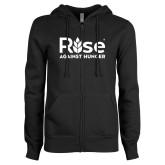 ENZA Ladies Black Fleece Full Zip Hoodie-Primary Mark