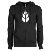 ENZA Ladies Black Fleece Full Zip Hoodie-Icon