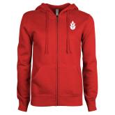 ENZA Ladies Red Fleece Full Zip Hoodie-Icon