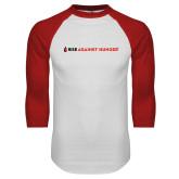 White/Red Raglan Baseball T Shirt-Primary Mark Flat