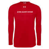 Under Armour Red Long Sleeve Tech Tee-Primary Mark Flat