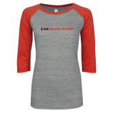 ENZA Ladies Athletic Heather/Red Vintage Baseball Tee-Primary Mark Flat