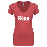 Next Level Ladies Vintage Red Tri Blend V Neck Tee-Primary Mark