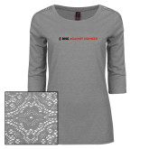 Ladies Grey Heather Lace 3/4 Sleeve Tee-Primary Mark Flat