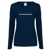 Ladies Navy Long Sleeve V Neck Tee-Primary Mark Flat