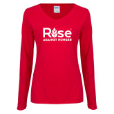 Ladies Red Long Sleeve V Neck Tee-Primary Mark