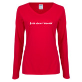 Ladies Red Long Sleeve V Neck Tee-Primary Mark Flat