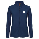 Ladies Fleece Full Zip Navy Jacket-Icon