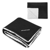 Super Soft Luxurious Black Sherpa Throw Blanket-Primary Mark Flat