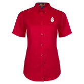 Ladies Red Twill Button Up Short Sleeve-Icon