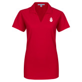 Ladies Red Dry Zone Grid Polo-Icon